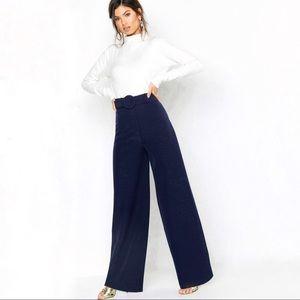 Chloe High-Rise Navy Wide Leg Trousers